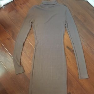 Creme ribbed turtle neck bodycon sweater dress